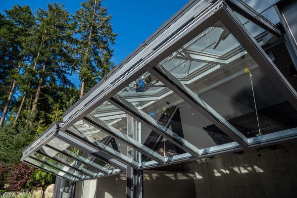 West Coast home garage with bi-fold door