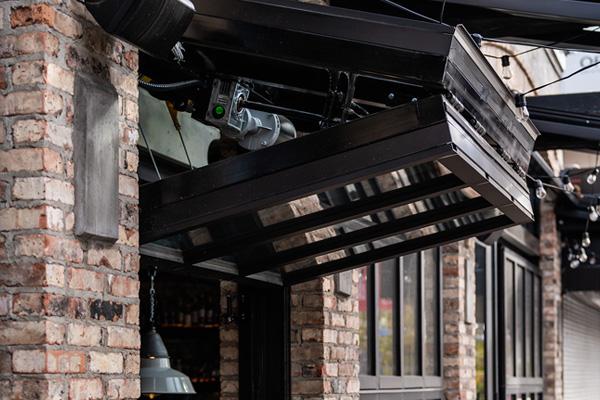 store front with bi-fold door